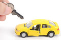 Toy car and key Stock Photo