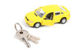 Toy car and key Royalty Free Stock Photo