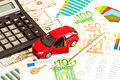 Toy car money and other staff business Stock Images