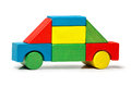 Toy car multicolor wooden blocks transport over white background Royalty Free Stock Images