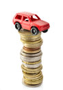 Toy car stack coins isolated white background Stock Image