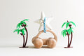 Toy car summer travel theme with palm trees Royalty Free Stock Photo