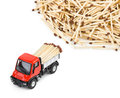 Toy car truck and matches isolated on white background Stock Images