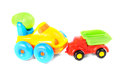 Toy cars in accident isolated ower white background Royalty Free Stock Photos