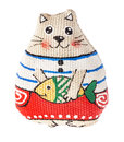 Toy cat the toys is made from natural fabrics and hand painted Stock Photo