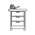 Toy on chest of drawers Royalty Free Stock Photo