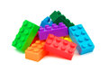 Toy colorful plastic blocks on white background Royalty Free Stock Image
