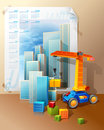 Toy Construction Crane And Blocks Royalty Free Stock Images