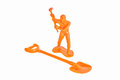 Toy construction worker doll a hammer Royalty Free Stock Photo