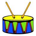Toy drum icon, icon cartoon
