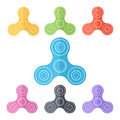 Toy fidget spinner or hand spinner, multicolored set in flat design style