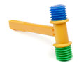 Toy gavel plastic on white Royalty Free Stock Photos