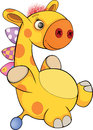 Toy giraffe cartoon little soft yellow with a nose button Stock Image