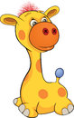Toy giraffe cartoon with pink hair Stock Image