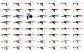 Toy gun between many ak machine colorful guns Stock Photos