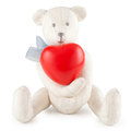 Toy handmade teddy bear with heart red on white Royalty Free Stock Photography