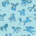Toy horses doodles pattern hand drawn illustrations over a blue background Royalty Free Stock Photography