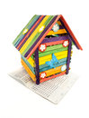 Toy house colorful and bank account book isolatd on white background Royalty Free Stock Images