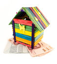 Toy house colorful and bank account book isolatd on white background Royalty Free Stock Photo