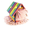 Toy house colorful with money isolatd on white background Royalty Free Stock Image