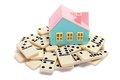 Toy House with Dominoes Stock Images
