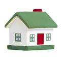 Toy house with green roof isolated on white background Royalty Free Stock Image