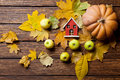 Toy house and pumpkin Royalty Free Stock Photo