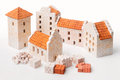 Toy houses clay brick kits realistic mini house using real bricks roof tiles and cement Royalty Free Stock Photos