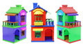 Toy houses on white background Stock Photography