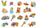 Toy icon collection - vector color illustration. Kids toys