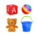 Toy icon set - block, ball, bucket, bear Stock Image