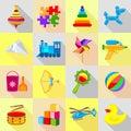 Toy icons set, flat style
