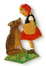 Toy little red riding hood wooden carved decorative wall with shadows Stock Images