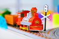 Toy miniature locomotive on railroad Royalty Free Stock Photos