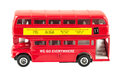 Toy model of red double decker bus london isolated on white background with clipping path Royalty Free Stock Photo