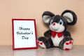 Toy mouse with wooden photo frame Royalty Free Stock Photo