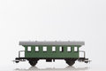 Toy passenger rail car pictured items of a railroad Stock Photos