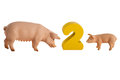 Toy pig and piglet isolated on white Stock Images