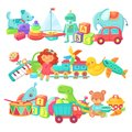 Toy piles. Kids toys groups. Cartoon baby doll and train, ball and cars, boat isolated children vector set