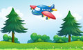 A toy plane flying above the hill illustration of Stock Photos