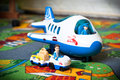 Toy plane and truck set of children s toys out of the the in the nursery Royalty Free Stock Photo
