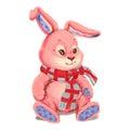 Toy plush pink bunny