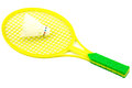Toy racket and shuttlecock badminton isolated on white background Royalty Free Stock Images