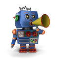 Toy robot with bullhorn vintage shouting out a message over white background Royalty Free Stock Photos