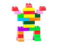 Toy robot made from colorful building blocks Stock Photo
