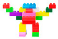 Toy robot made from plastic colorful blocks on white background Royalty Free Stock Photography