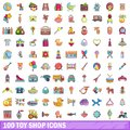 100 toy shop icons set, cartoon style Royalty Free Stock Photo