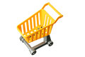 Toy shopping trolley on white background Royalty Free Stock Photos