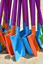 Toy shovel in various colors coloful as sequence Royalty Free Stock Photos