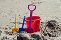 Toy shovels and bucket Royalty Free Stock Photography